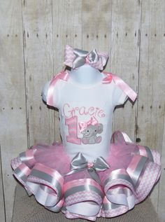 Elephant ribbon trim tutu set outfit pink chevron by MommaMays