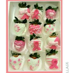 Pink Breast Cancer chocolate covered strawberries