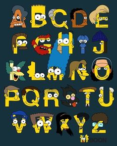 Artist Mike Boon has created this cool print featuring the alphabet with characters from the Simpsons.  Prints of the alphabet are available @ http://society6.com/mbaboon/Simpsons-Alphabet_Print