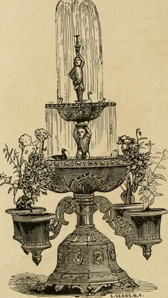 "Image from page 287 of ""Window gardening : devoted specially to the culture of flowers and ornamental plants for indoor use and parlor decoration"" Victorian Parlor, Neoclassical Architecture, Garden Windows, Wood Stone, Antique Illustration, Ornamental Plants, Vintage Ephemera, Garden Fountains, Vintage Images"