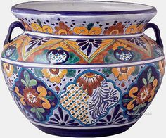 talavera pottery: mexican flower pot