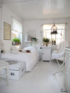 Guest Bedroom. White, Grey, Black, Chippy, Shabby Chic, Whitewashed, Cottage, French Country, Rustic, Swedish decor Idea. ***Pinned by oldattic ***.