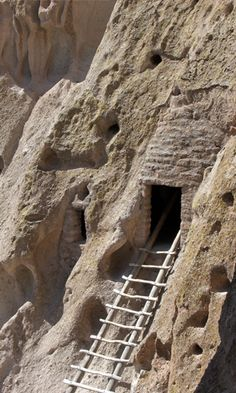 Bandelier National Monument cliff dwelling - While I was picturing Sierna living in a natural cave system, realistically her people would have expanded by carving their own additions and building outside the cliffs as well.