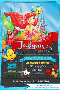 Free Ariel Birthday Party Invitations PRINCESS LITTLE MERMAID - Custom ariel birthday invitations