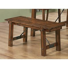 The smooth generously sized top features a rounded edge, above pretty turned legs Add this lovely wooden bench to your dining set for a touch of casual country charm Pull it up to the matching dining table for a complete ensemble that you will love