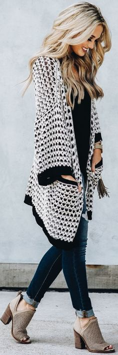 White & black trimmed cardigan