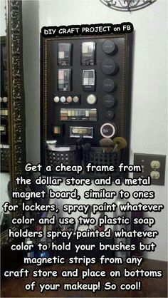 Magnetic makeup board, diy dollar store limited space organized bathroom