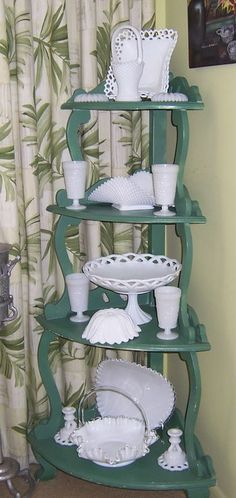 Milk Glass Collection display.