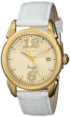 Invicta Women's 15289 'Angel' 18k Gold Ion-Plated Stainless Steel and White Leather Strap Watch *** Be sure to check out this awesome product.
