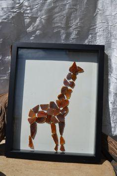 Giraffe Beach Glass Shadow Box Picture by SenecaBeachGems on Etsy, $29.00