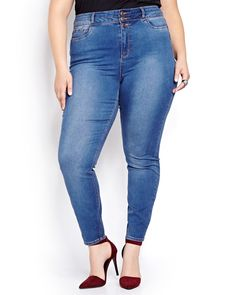 Extra skinny leg, extra high waist, extra stylish Love & Legend jean is this season's must-have addition to your denim drawer. Made from soft stretch denim for the perfect sexy fit. Plus size, 5 pockets, high waist, 3-button front closure. 30 inch inseam.