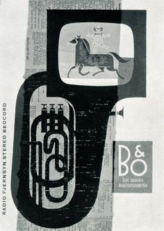 Horses and Trumpets - Ad for television sets. Werner Neertoft, Denmark, 1963
