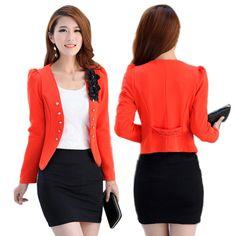 New Fashion Women Lady Tops Slim Suit OL Blazer Flower Short Coat Jacket XL XXL