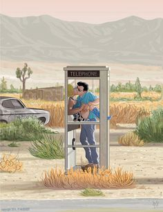 True Romance Phone Booth Scene giclee print by CastleMcQuade Romance Art, True Romance, Romance And Love, Valentine Day Cards, Valentines, Tony Scott, Video Pink, Alternative Movie Posters, Love Cards