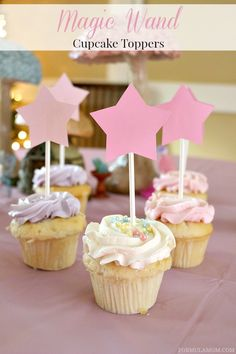 Fairy Party Decorations: Magic Wand Cupcake Toppers