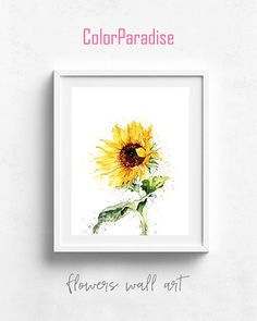 Watercolor flowers, spring flowers, hand drawn flowers, sunflower decor, sunflower painting, yellow sunflowers, sunflower print, yallow art. Grab a printable and print it on your own printer or at your local print shop! ColorParadise accept all major credit cards through Paypal. You
