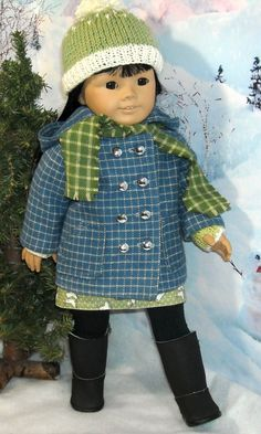 Blue Flannel Duffle Coat Jumper Tee Hat by SugarloafDollClothes