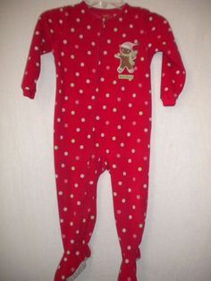 Carter's Toddlers Size 2T Christmas Polka Dot Girls One Piece Footed Pajama #Carters #OnePiece