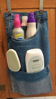 Up-cycling a pair of jeans into a bathroom caddy.  Simple, simple!
