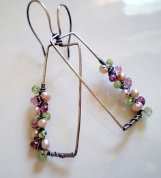 Apple Blossom Earrings (rectangle design with pink and green gemstones and pearls)