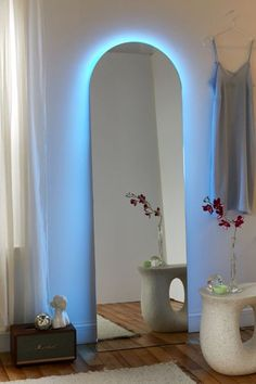 Neon Bedroom, Room Ideas Bedroom, Home Decor Bedroom, Bedroom Inspo, Arch Mirror, Led Mirror, Full Length Floor Mirror, Full Length Mirror With Led Lights, Floor Mirror With Lights