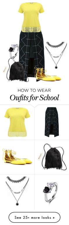 """school"" by kim-coffey-harlow on Polyvore featuring Sacai, M&Co, Aquazzura, H&M and Forever 21"