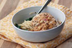 Roasted Mediterranean Chicken with Lemon Parmesan Pasta by asweetsimplelife #Chicken #Pasta #Lemon