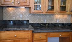 Glass Subway Tile Backsplash On Slate Metal Glass Mosaic With Emperadora  Light Marble