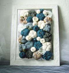 Shabby chic fabric flower framed art 3D design home by mapano, $39.00