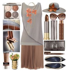 """""""Chocolate Brown"""" by grozdana-v ❤ liked on Polyvore featuring Vita Liberata, Chantecaille, Tom Ford, Blugirl, Emporio Armani, Urban Decay, Alterna, Gucci, The Season Hats and Lanvin"""