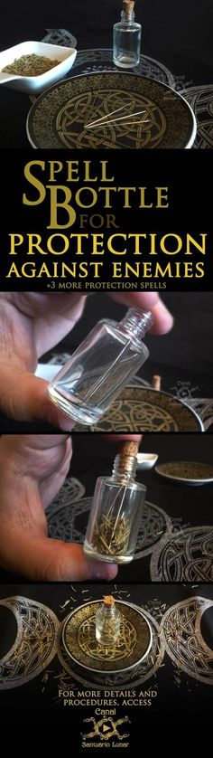 Protection spells against enemies - A Spell Bottle and 3 more spells Spell for protection against enemies - Spell Bottle tutorial DIY Witch Bottles, Magic Bottles, Witch Board, Wicca Witchcraft, Hoodoo Spells, Magick Book, Grimoire Book, Wiccan Crafts, Protection Spells
