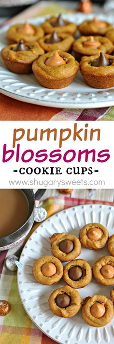 Pumpkin Blossoms: a fall treat based off your favorite peanut butter blossom cookie. Add a hershey kiss in any flavor!
