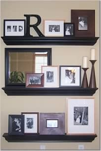 Wall Shelves...I love how this is set up with all the photos!
