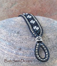 Black Silver Beaded Leather Bracelet Super Duo by BarbSmithDesigns