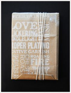 brown paper wrapping, so sweet, paint the paper. Even paint the to and from, hmmm, wheels turning.