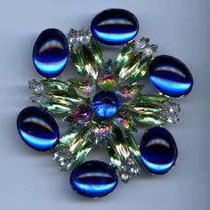 Massive Blue and Green Runway Brooch Vintage Jewelry by 2BourgeoisHippies on Etsy