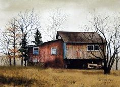 A rustic old tractor will wait out another winter next to an old red barn. Comes in an unframed open edition image size 16x12.