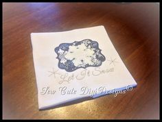 Let It Snow  Snowflake Applique within a by SewCuteDigiDesigns
