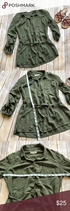 Hippie Rose Utility Style Tunic size Large Like new olive Utility style button down shirt with tie. So cute for layering! 💠From a clean and smoke free home!💠 Add to a bundle to get a private discount 💠 Discount ALWAYS Available on 2+ items💠 No trades, holds, modeling or transactions off of Poshmark.💠 Hippie Rose Tops
