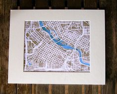 Minneapolis, Minnesota City Map Print of watercolor with sepia and indigo Printed on Epson matte paper with Epson archival inks. Paper measures Signed on back (Mat not included. Indigo Prints, Mini Apple, Minneapolis Minnesota, Colored Highlights, Map Art, Maps, City, Creative, River