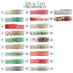 Washi Tape - CHRISTMAS Collection (2) Favourites: 2. 9. 10. 11. & 13.