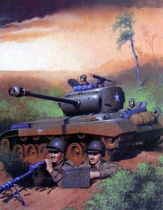 US troops and armour defending a position during the Inchon-Seoul campaign, Korean War Military Guns, Military Art, M26 Pershing, Ww2 History, Korean War, Rising Sun, Cold War, Us Army, World War Two