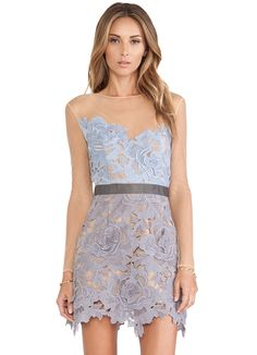 OMG what a beautiful dress, wonderful color palette ...  Blue and Nude Sheer Long Sleeve Crochet Flower Lace Dress 33.99