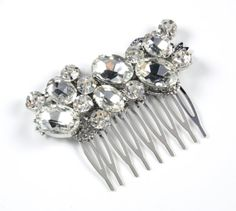 Wedding Hair Comb, Accessories, White, Side Tiara, Crystal, Crystal, Brides, Bridesmaids, Flower girl