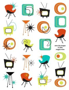 Mid Century Designs Retro Collage Sheet - 1950s 1960s - Household and Abstract Items -Digital Download - Printable. $4.00, via Etsy.