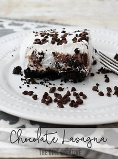 No Bake Chocolate Lasagna - delicious party dessert and easy to make!