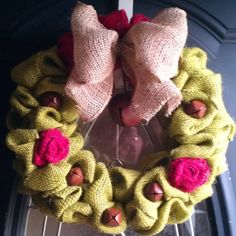 $25 Hey, I found this really awesome Etsy listing at https://www.etsy.com/listing/169986505/avocado-green-christmas-burlap-wreath