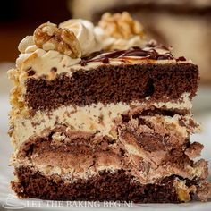 ~ Soft Chocolate Sponge cake layers are filed with Light Dulce de Leche Buttercream and Chocolate Walnut Meringue to make a Chocolate version of the most iconic Ukrainian Kiev Cake ~  Back when I ...