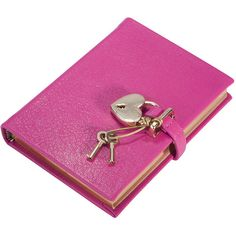 Graphic Image Small Locked Leather Journal - Pink ($66) ❤ liked on Polyvore featuring home, home decor, stationery, books, misc, filler, furniture, notebooks and pink