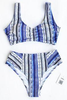 205c524c549 Cupshe Face The Sea Print Bikini Set Surf Wear, Bikini Babes, Bikini Girls,